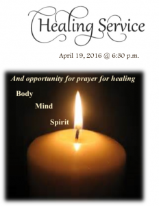 Healing service for April